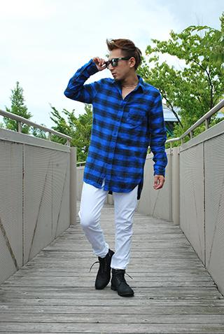 ロング丈チェックシャツ