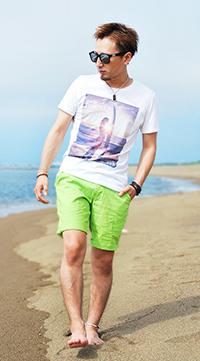 ビーチ女性フォトプリントTシャツ2