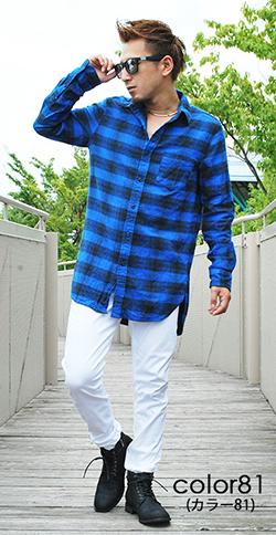 ロング丈チェックシャツ×ブーツコーデ
