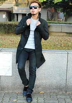 イタリアンカラーロング丈コートを使った冬コーデ
