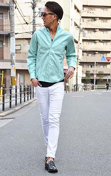 イタリアンカラーリネンシャツ×デニムコーデ