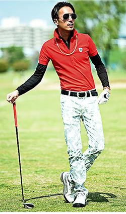 レッドを使ったゴルフウェアポロシャツコーディネート