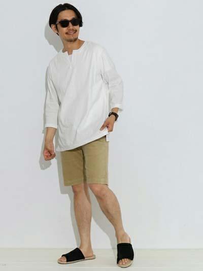 スキッパーシャツ×ハットコーディネート