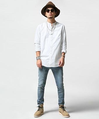 スキニーパンツ×バンドカラーシャツ