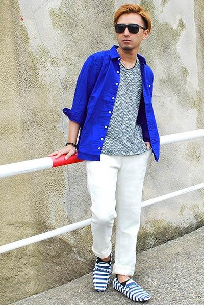 綿麻ブルーシャツ