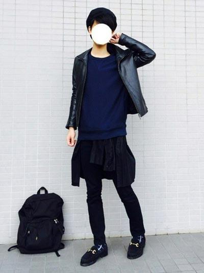 ブラックデニム×革ジャン
