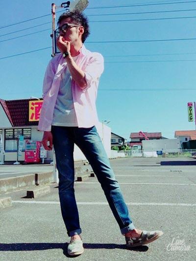 GUピンクシャツを使ったカジュアルコーデ