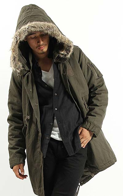 ミリタリーモッズコート ファー付き 中綿 ダウン モッズ ジャケット コート ブルゾン メンズ XLサイズ カーキ