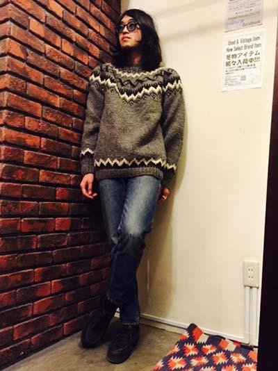 デニム×グレーノルディックセーター