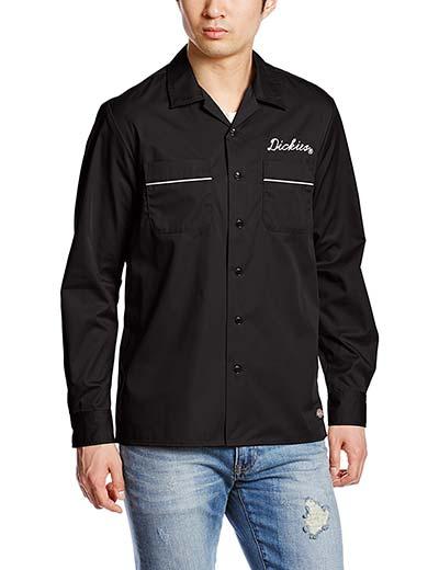 (ディッキーズ)Dickies TCツイル刺繍入りL/Sオープンカラーシャツ