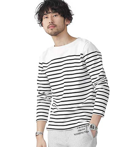 ナノ・ユニバース(nano・universe) パネルボーダーボートネックTシャツ