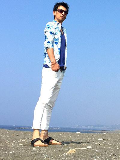 白×青で爽やかなコーデ