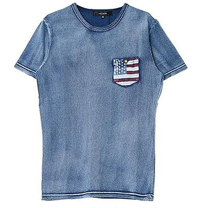 キャバリア(CavariA)  星条旗柄ポケット付きインディゴ染めクルーネックTシャツ