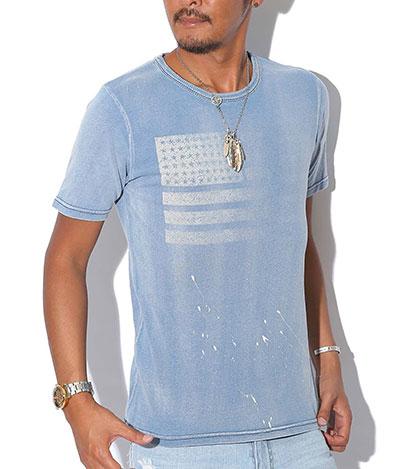 ラグスタイル(LUXSTYLE) インディゴ星条旗柄ペンキ飛ばしTシャツ